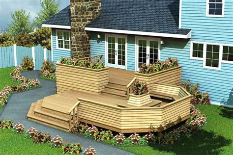 add stairs more storage plus patio and or garage house luxury split level deck project plan 90010 planter