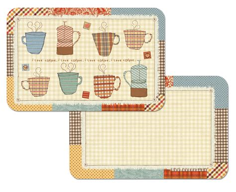 Patchwork Cafe - a coffee theme patchwork cafe placemats vinyl plastic