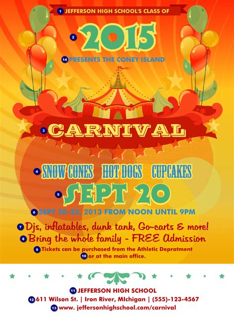 templates for carnival flyers 6 best images of free printable carnival flyers templates