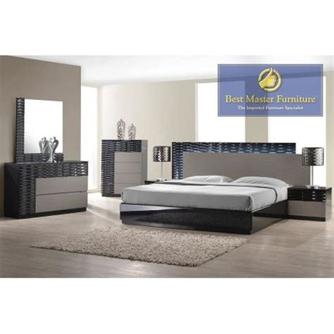modern black lacquer with zebra gray 5 pc bedroom set