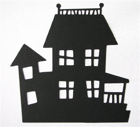 house silhouette halloween haunted house die cut silhouette
