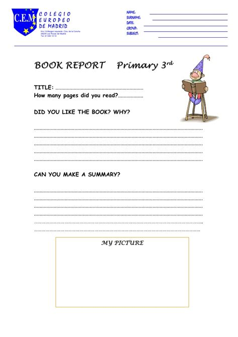 primary book report book report primary 3rd
