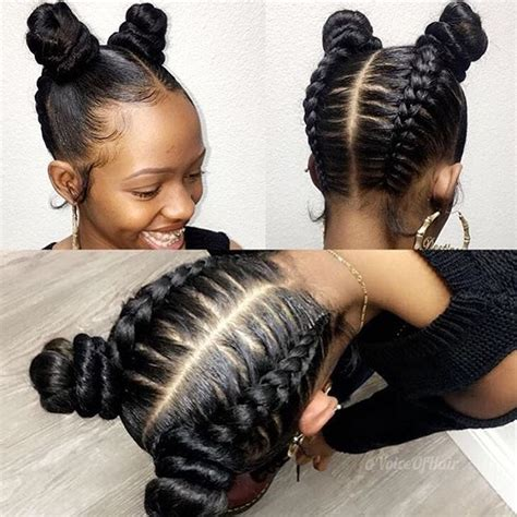 hairstyle with two corn row with bun to the side love these upside down glam braids buns styled by