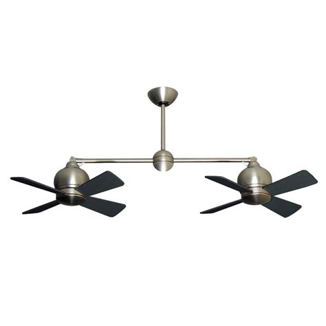 Dual Ceiling Fan With Light Metropolitan Dual Motor Ceiling Fan Modern Styling With Halogen Light Satin Steel
