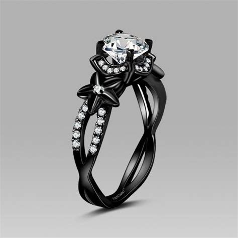Black Wedding Rings by Vancaro Black Flower Style Cubic Zirconia 925 Sterling