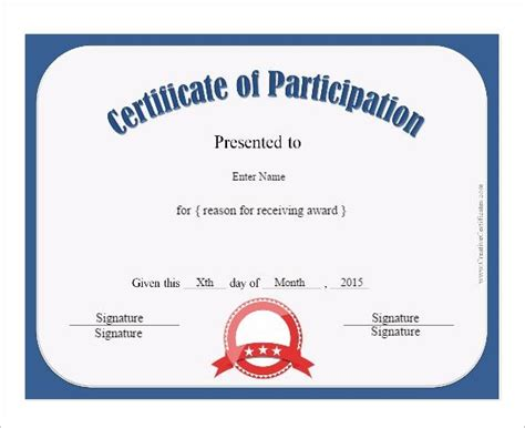 Free Participation Certificate Templates For Word by Certificate Of Participation Template Site About Template