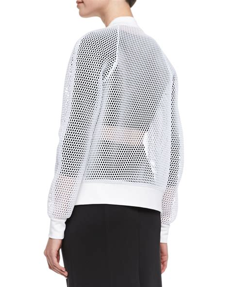 Sheer Jacket milly sheer mesh bomber jacket in white lyst