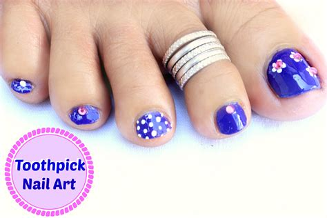 easy nail art for legs easy and quick toe nail art design using toothpick youtube