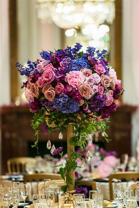 Blue Pink Purple Reception Wedding Flowers Wedding Decor Blue And Purple Centerpieces For Weddings