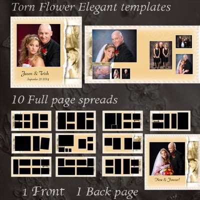 Quot Torn Flower Quot Elegant Wedding Album Templates Includes 12 Hi Res Wedding Templates 10 Full Page Photo Album Template Photoshop Free