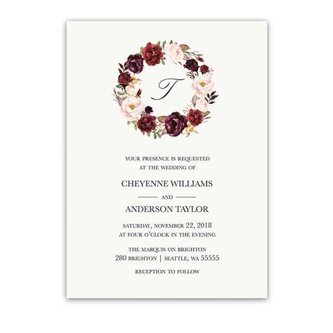 Unique Floral Wedding Invitations by Floral Watercolor Wedding Invitations Burgundy Wine