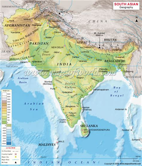 asia s south asia physical map geography of south asia