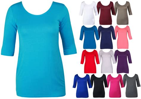 3 4 sleeve white scoop neck shirt jcpenney ladies 3 4 sleeve long t shirt top womens scoop neck
