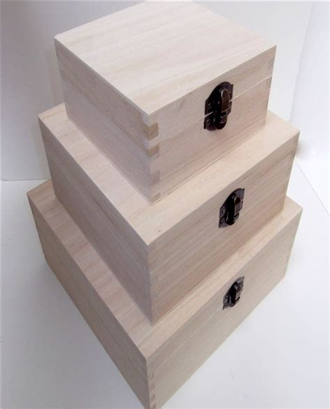 holiday wood storage box ideas plain wood wooden square hinged storage boxes choice of sizes ebay