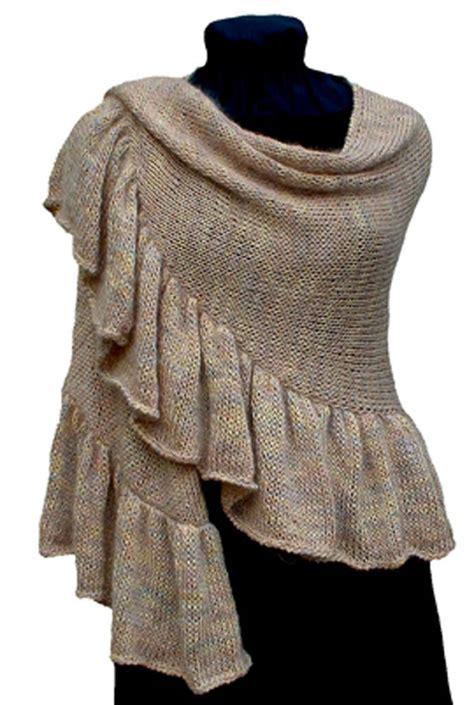 Knitting Pattern Ruffled Crescent Shawl Knitting Pattern Pdf