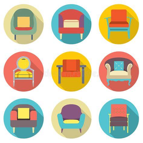 flat design effect flat design long shadow effect sofa icons set stock vector