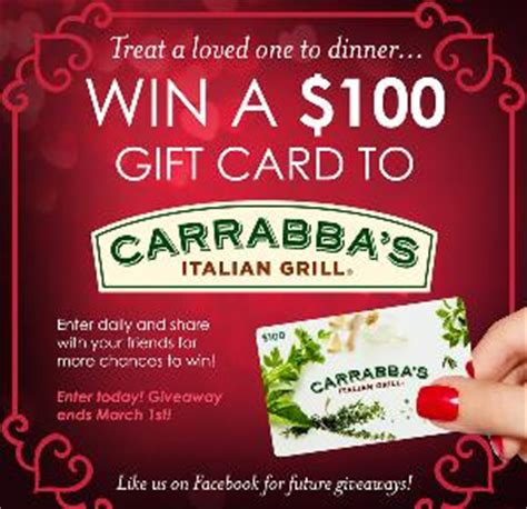 Carrabbas Gift Card - contest win a 100 carrabba s gift card