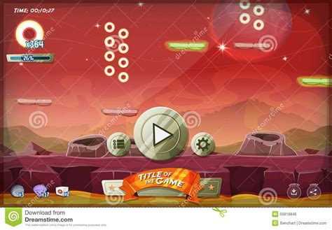design graphics for games scifi platform game user interface for tablet stock vector