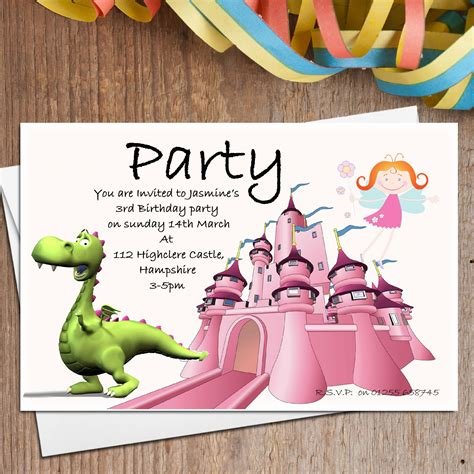 printable birthday invitations dragons 10 personalised dragon fairy party invitations