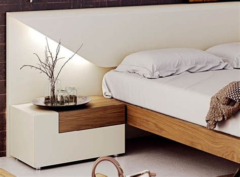 white modern bedroom furniture lacquered made in spain wood luxury platform bed fort 17853 | white on real wood walnut bed esfelena 01