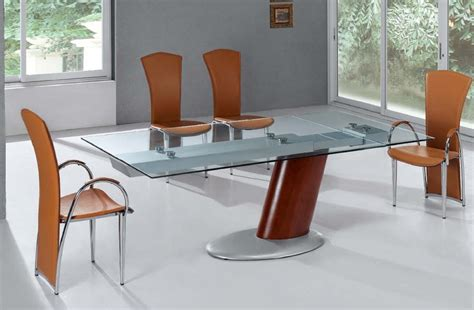 contemporary glass dining room tables comet glass contemporary extendable dining table with metal base jacksonville florida esf20793dt