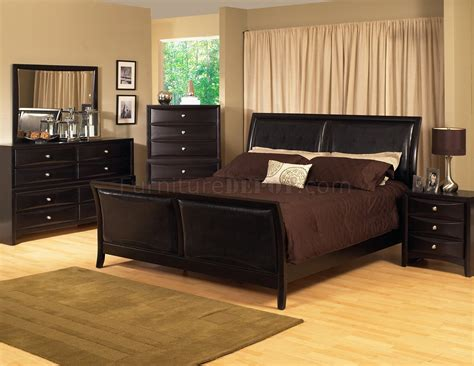 Espresso Bedroom Furniture Espresso Finish Transitional Bedroom Set W Bicast Inserts