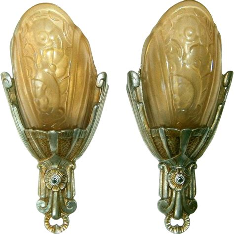 Vintage Wall Sconces Vintage Pair Lincoln Fleurette Slip Shade Wall Sconces From Loftylighting On Ruby