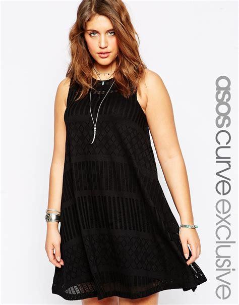 asos black swing dress asos curve swing dress in festival lace in black lyst