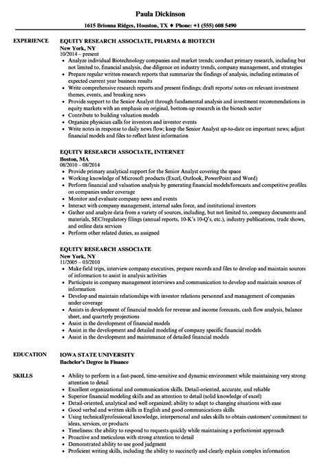 Equity Research Resume by Equity Research Associate Resume Sles Velvet
