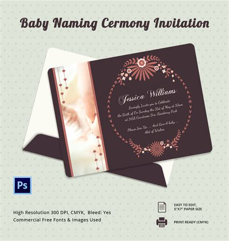 Ceremony Cards Templates by 37 Naming Ceremony Invitations Free Psd Pdf Format