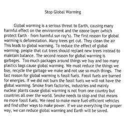 Global Warming Essay 50 Words by Grade 8 Level 4 Writing Sle