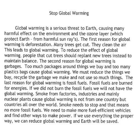 Global Warming Essay For School Students by Causes Of Global Warming Essays