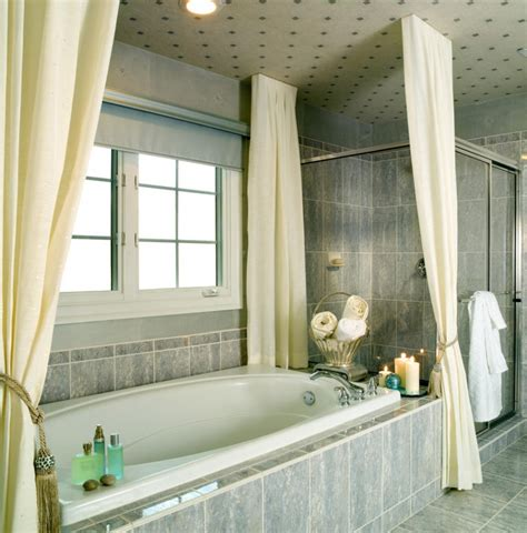 bathtub window curtain cool bathroom design idea using marble bathtub and divine cream curtain color also