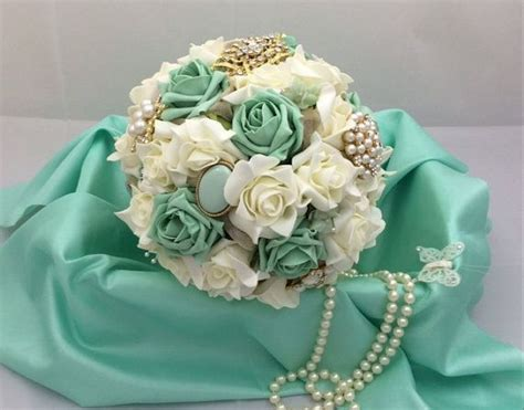 Wedding Bouquet Mint Green by Wedding Bouquet Shabby Chic Brooch And Flower Bouquet In