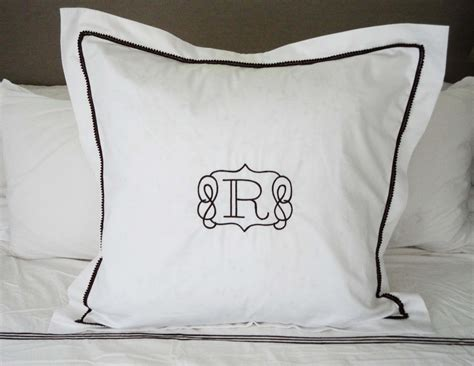 monogrammed bed pillows monogram euro pillow sham with mini pom pom trim monogram