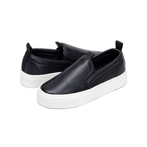 womens black slip on sneakers s synthetic leather toe rubber sole slip on