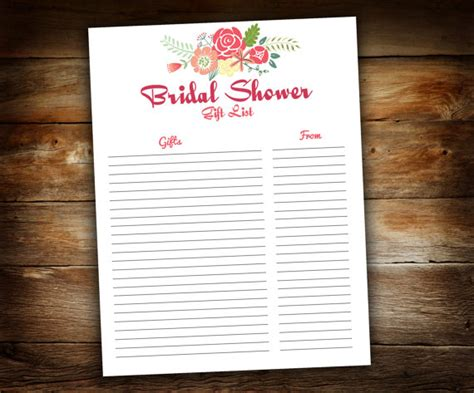 printable bridal shower gift list bridal shower gift list list of received gifts wedding