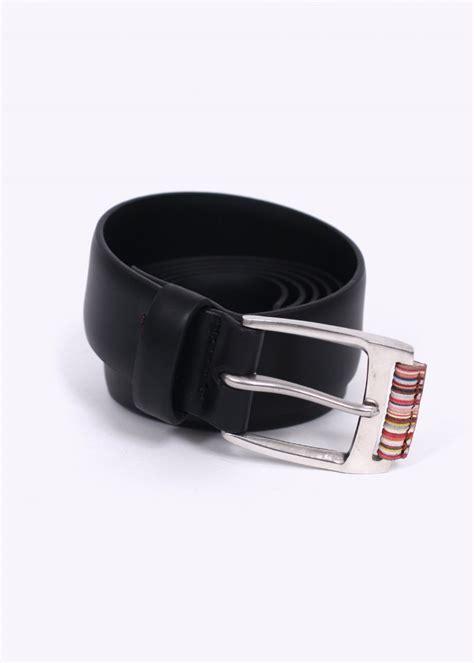 paul smith multistripe leather belt black