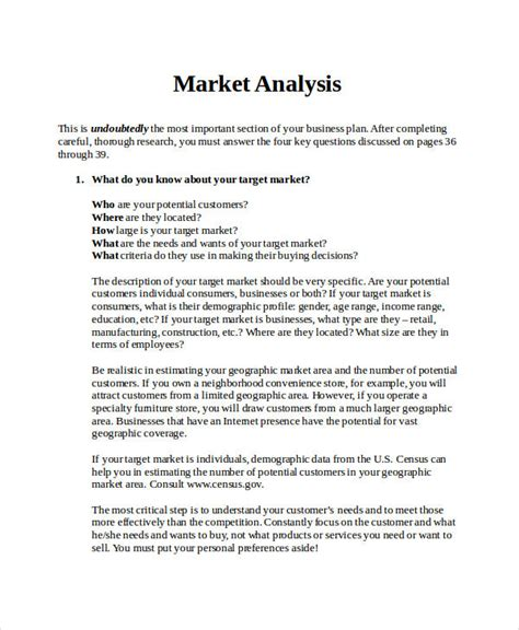 market analysis template business plan 39 simple analysis exles