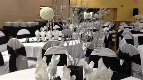 black and white themed wedding reception
