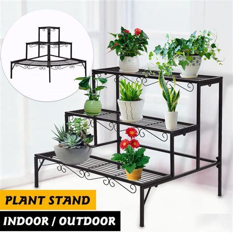 indoor plant shelves outdoor indoor plant stand metal black flower pot 3 tier