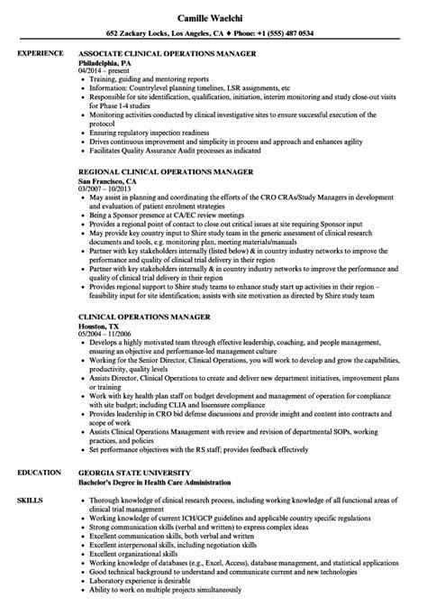 clinical operations manager resume sles velvet