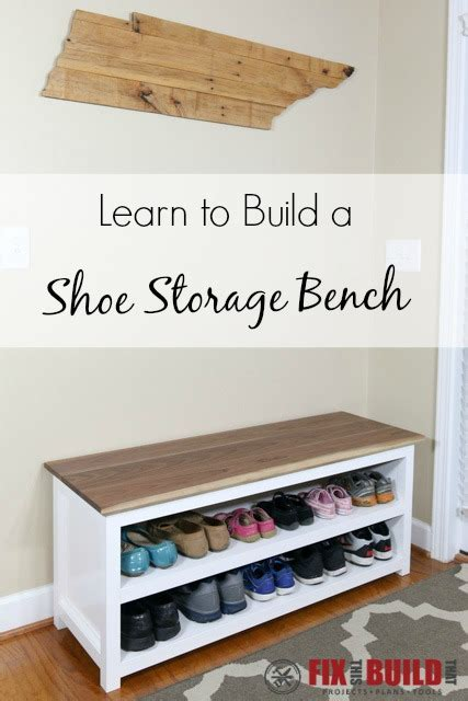 shoe shelf bench diy entryway shoe storage bench fixthisbuildthat