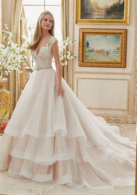 Organza Plain White Wedding Dresses by Vintage Embroidery On Organza Gown Style 2895 Morilee
