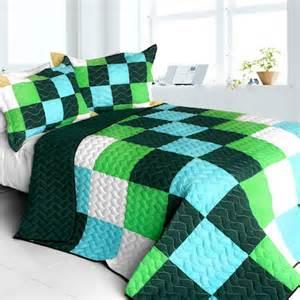 geometric pixel green blue boy bedding