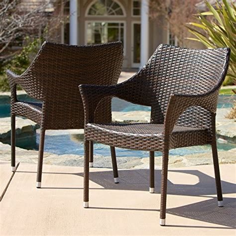 mar outdoor furniture mar outdoor brown wicker stacking chairs set of 2 home patio and furniture