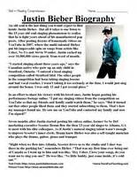 Fifth grade reading comprehension worksheet justin bieber biography