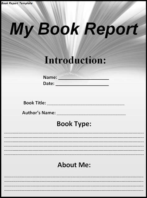 template for a book report book report template free printable word templates