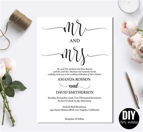 Diy Black And White Wedding Invitations