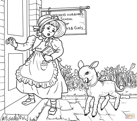 mary had a little lamb nursery rhyme coloring page free